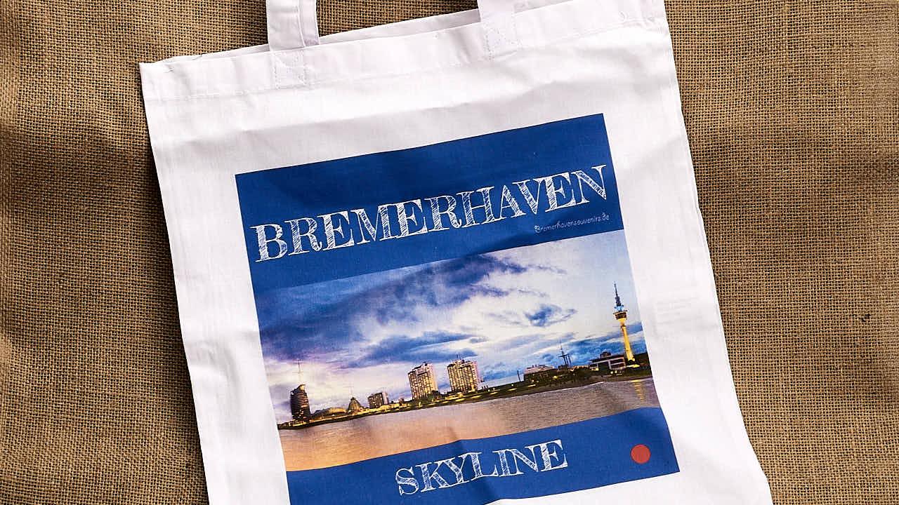 Ausschnitt Stofftragetasche »Bremerhaven Skyline«